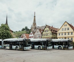 Buses of the Esslingen Municipal Transport Company in front of the old town of Esslingen