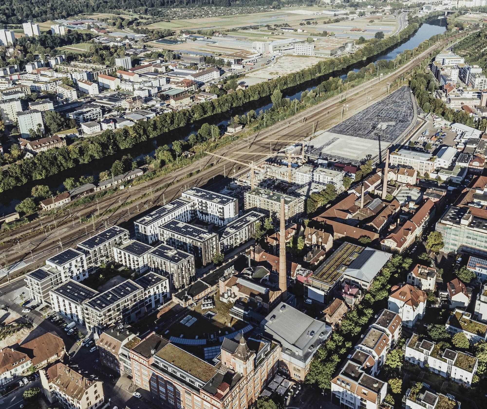 Die Neue Weststadt – klimaneutrales Stadtquartier aus der Vogelperspektive