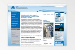 Geöffntete Webseite der Arbeitsgemeinschaft für sparsamen und umweltfreundlichen Energieverbrauch e.V. (ASUE) zeigt Artikel